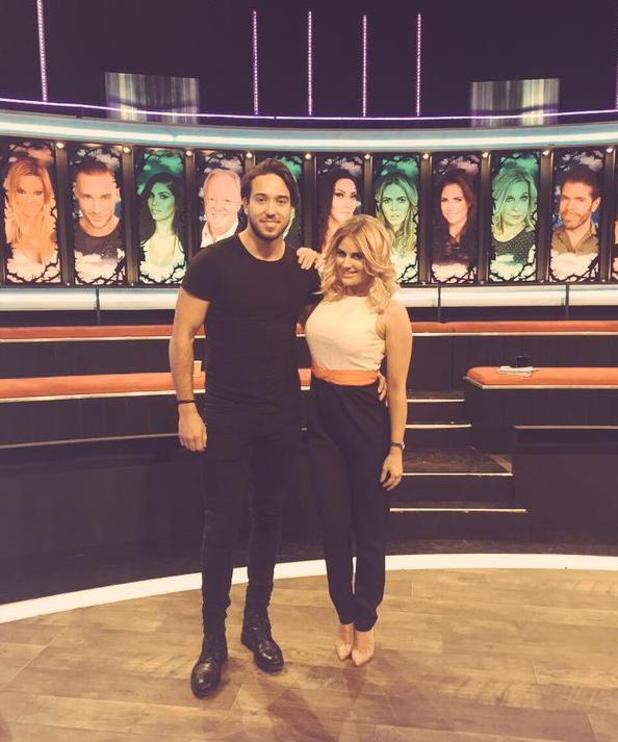 TOWIE star Danielle Armstrong poses on the set of Celebrity Big Brother's Bit On The Side with boyfriend James 'Lockie' Lock. 26 January 2015.