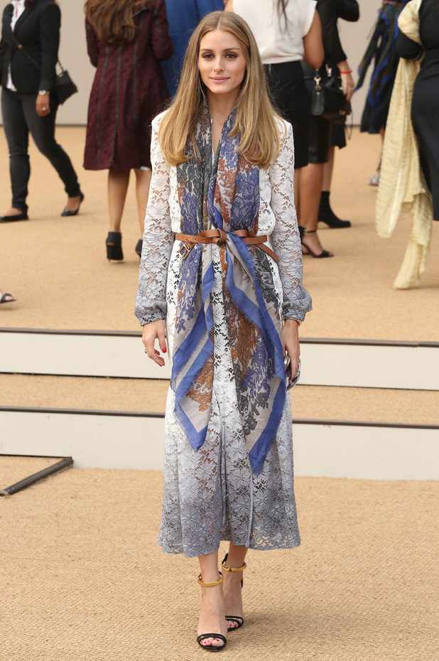 Olivia Palermo poses outside the Burberry show at London Fashion Week - 15 September 2014