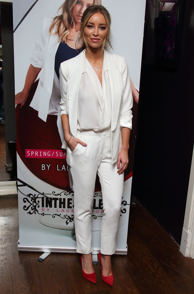 Lauren Pope Suits Up In Smart White Two Piece And Towering