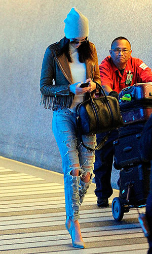 Kris Jenner and Kendall Jenner are seen at LAX on January 27, 2015 in Los Angeles, California.