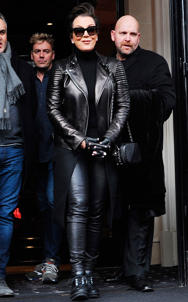 Kris Jenner out in Paris in leather, 25 January 2015