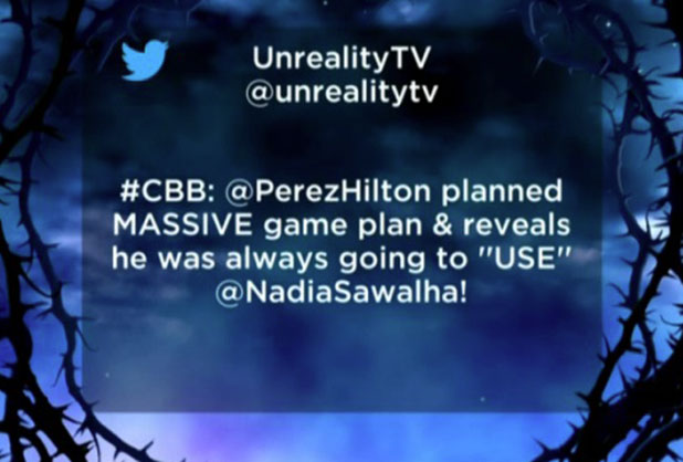 CBB: Perez Hilton is angry about a 'fake' tweet, 25 January 2015