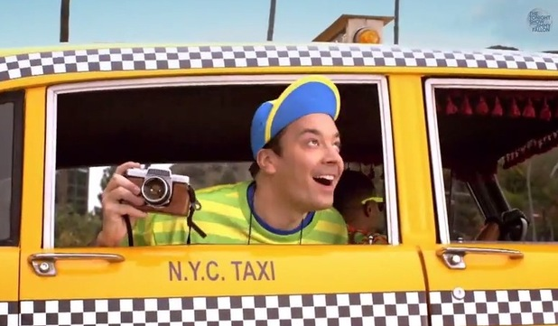 Jimmy Fallon parody's The Fresh Prince of Bel-Air opening title sequence on The Tonight Show Starring Jimmy Fallon - 3 February 2015.