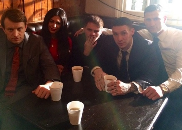 Casey Batchelor joins TOWIE Kirk Norcross on set filming Bonded By Blood 2 4 February