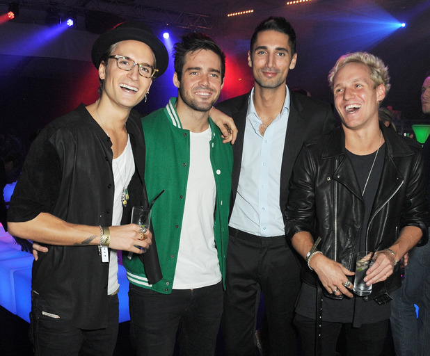 Oliver Proudlock, Spencer Matthews, Hugo Taylor and Jamie Laing attend the 1st birthday party of 2&8 Club inside Mortons on October 3, 2013 in London, England.