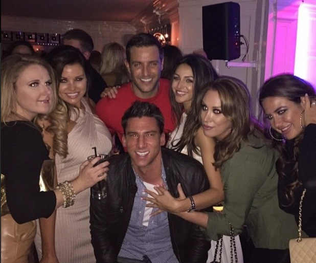 Elliott Wright with Michelle Keegan, Leah Wright, Jessica Wright, Sheesh Chigwell, Essex 4 February