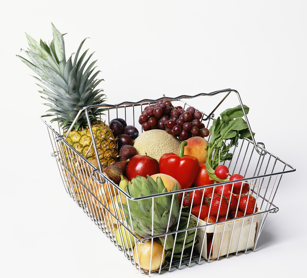 Fruit in a shopping basket