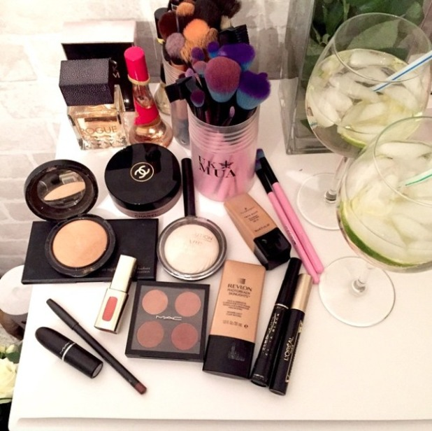 Charlotte Crosby's make-up artist, Melissa Wharton, shows off loot before doing Charlotte's make-up for night out with the girls, 2 February 2015