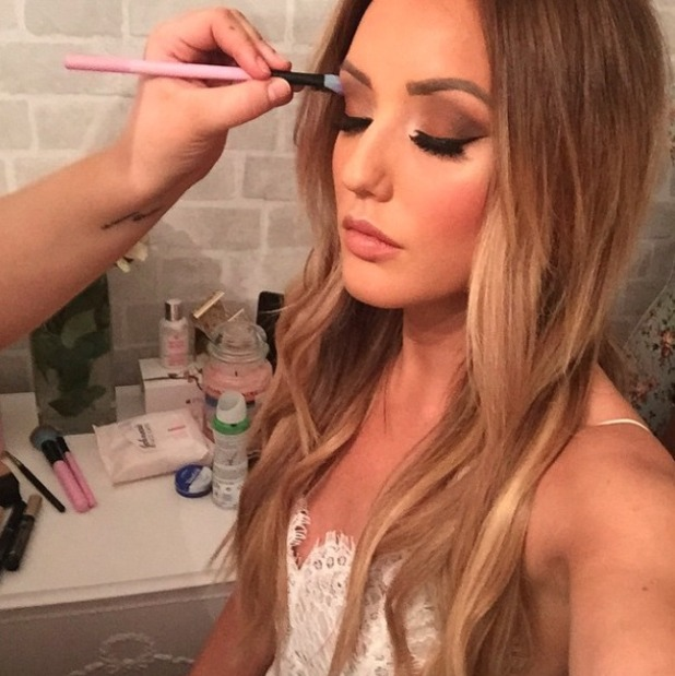 Charlotte Crosby gets make-up done by Melissa Wharton before night out with the girls, 2 February 2015