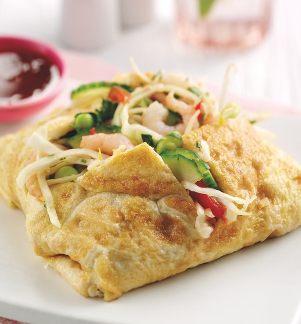 Lucy Meck and Paul Merrett's recipe for Vietnamese prawn omelette wrap