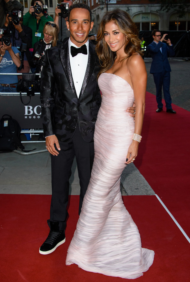 Nicole Scherzinger and Lewis Hamilton attend GQ Men of the Year Awards 2014