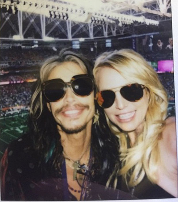 Steven Tyler, and Britney Spears at Super Bowl XLIX in Arizona, 1 February 2015