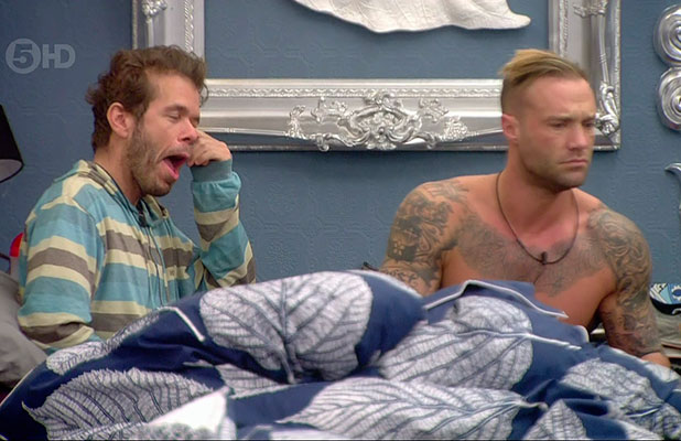 Perez Hilton and Calum Best awake on day eight of 'Celebrity Big Brother'. Broadcast on Channel 5 HD. January 2015