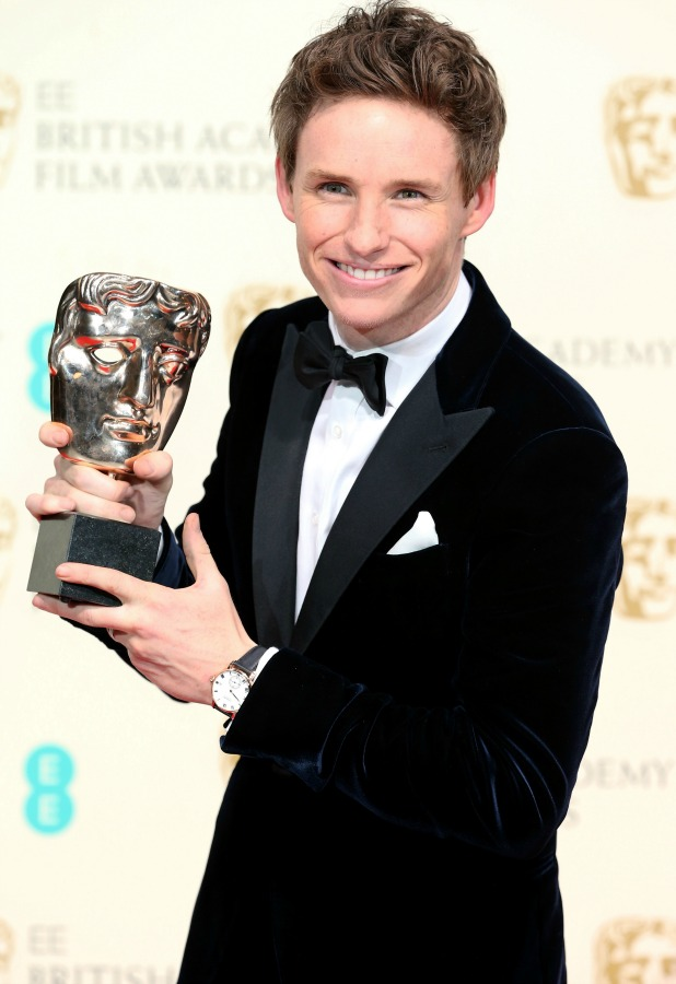Actor Eddie Redmayne, winner of the Best Leading Actor award for 'The Theory Of Everything' poses in the winners room at the EE British Academy Film Awards at The Royal Opera House on February 8, 2015 in London, England.