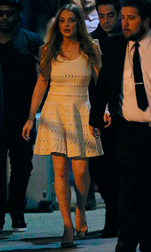 Lindsay Lohan leaving Jimmy Kimmel Live! Lindsay signed autographs and posed for pictures with fans, 3 February 2015