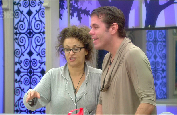 Nadia Sawalha and Perez Hilton talking in the kitchen on day 21 of 'Celebrity Big Brother'. Broadcast on Channel 5 HD.