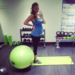 Billi Mucklow shows off baby bump at the gym 9 February