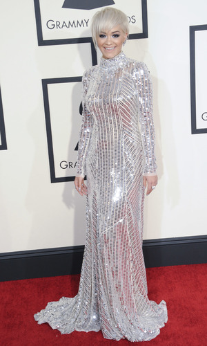 Rita Ora at the 57th Annual GRAMMY Awards held at the Staples Center - Red Carpet Arrivals 02/08/2015 Los Angeles, United States