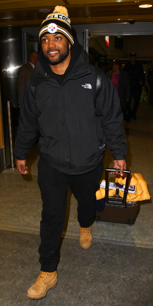 JB Gill arrives back in London after The Jump, Gatwick Airport 10 February