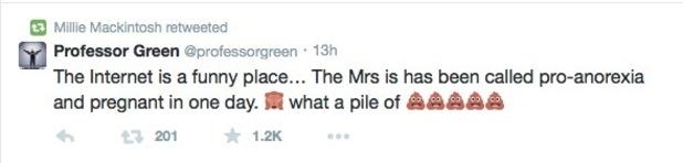 Professor Green pokes fun at rumours Millie Mackintosh is pregnant - 10 Feb 2015