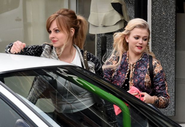 'Coronation Street' TV Series location filming, Manchester, Britain - 09 Feb 2015 Tina O'Brien and Lucy Fallon.