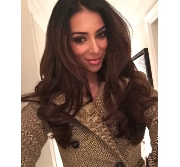 Georgia Salpa shows off new brunette Gold Fever Hair extensions, 7 December 2014