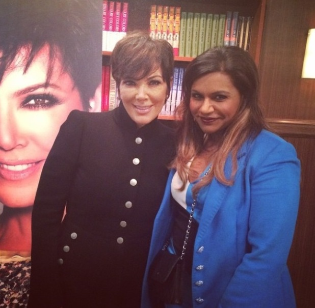 Kris Jenner and Mindy Kaling filming scene for The Mindy Project - 9 February 2015.