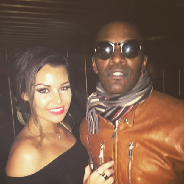 TOWIE's Jessica Wright poses for picture with actor Jamie Foxx, 14 February 2015