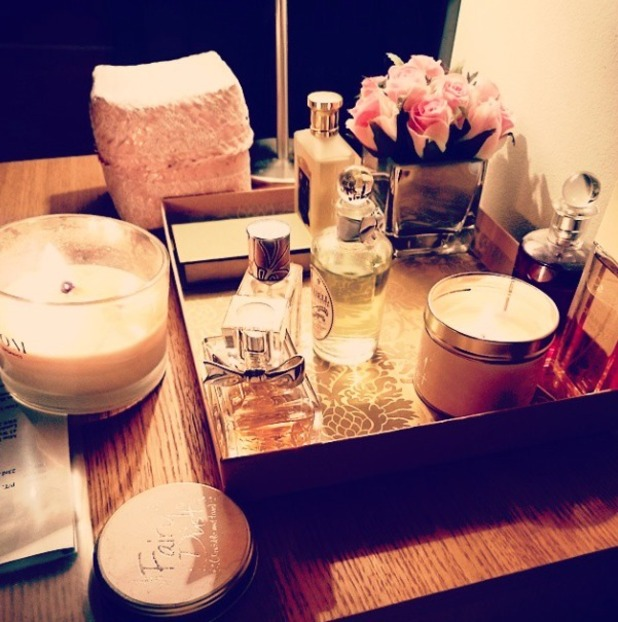 Louise Thompson shows off her dressing table, inc Dior and Penhaligon's fragrances, plus Neom and Lily-Flame candles, 11 February 2015