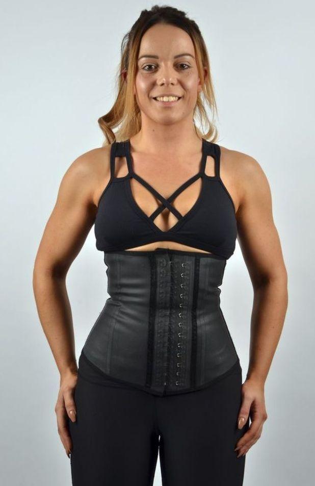 Lucy Miles in her waist trainer corset