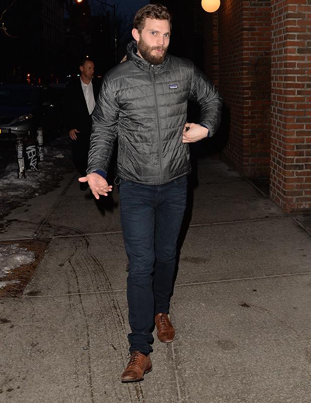 Jamie Dornan and Tom Sturridge are seen outside 'The Red Lion Bar' February 6, 2015 in New York City.