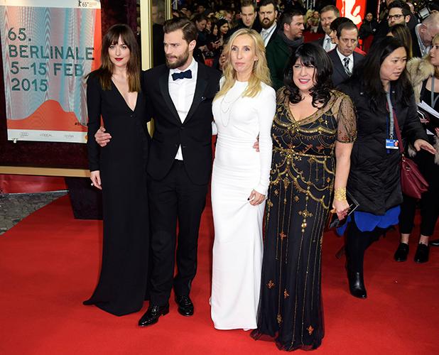 Dakota Johnson, E.L. James, Sam Taylor-Johnson, Jamie Dornan at 65th Berlin Film Festival (Berlinale) - 'Fifty Shades of Grey' premiere, 11 February 2015