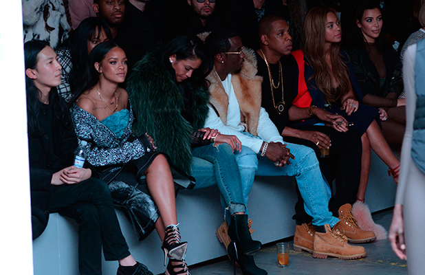 Rihanna, Sean 'Diddy' Combs, Jay-Z, Beyonce, Kim Kardashian at Kanye West's Adidas Show, NYFW, 12 February 2015