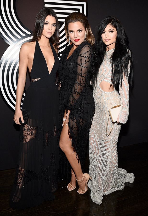 Kendall Jenner, Khloe Kardashian, and Kylie Jenner attend GQ and Giorgio Armani Grammys After Party at Hollywood Athletic Club on February 8, 2015 in Hollywood, California.