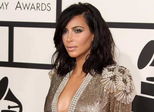 Kim Kardashian at Grammy Awards on 8 February 2015
