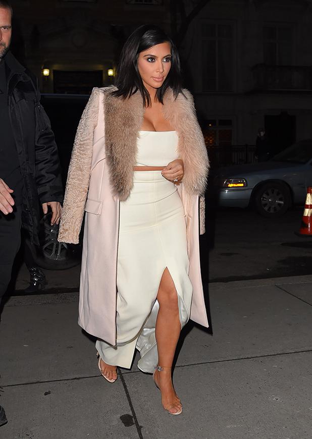 Kim Kardashian seen out in Manhattan on February 10, 2015 in New York, New York.