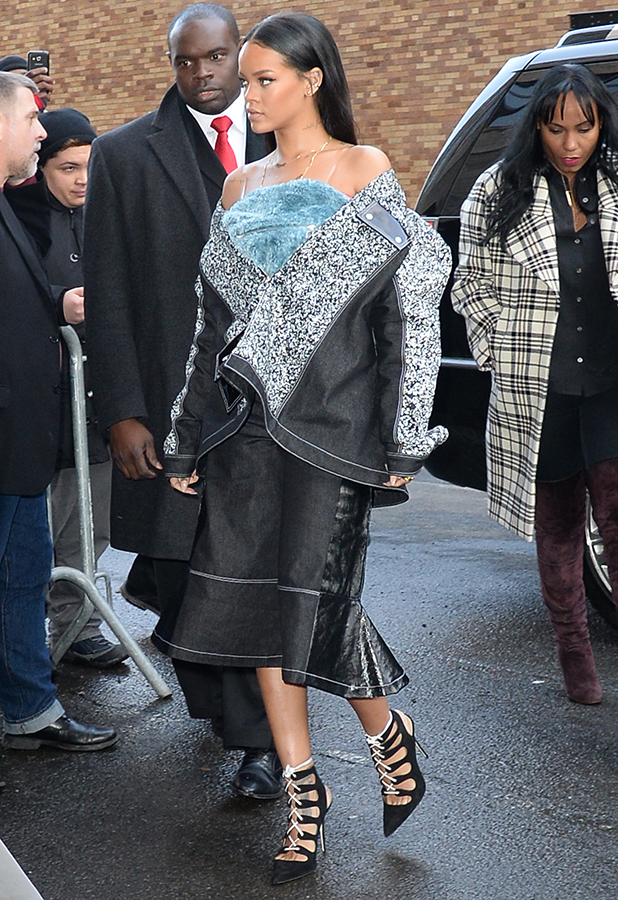 Rihanna is seen outside of the adidas show on February 12, 2015 in New York City.