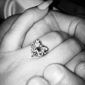 Lady Gaga is engaged to Taylor Kinney. Picture of engagement ring from Valentine's Day 2015