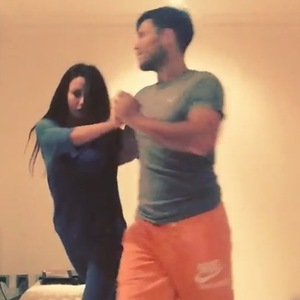 Mark Wright gives Michelle Keegan a dancing lesson at home - 17 February 2015