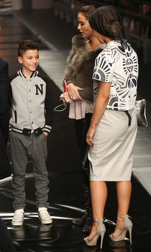 Katie Price walks the catwalk for Fashion For Relief in London, rehearsals with Junior - 19 Feb 2015