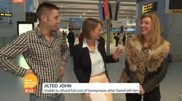 John Whitbread and Kelly Wood meeting at Manchester airport for first time