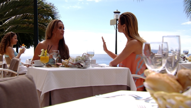 Chloe Sims clashes with Leah Wright as TOWIE series 14 kicks off, 22 February 2015.