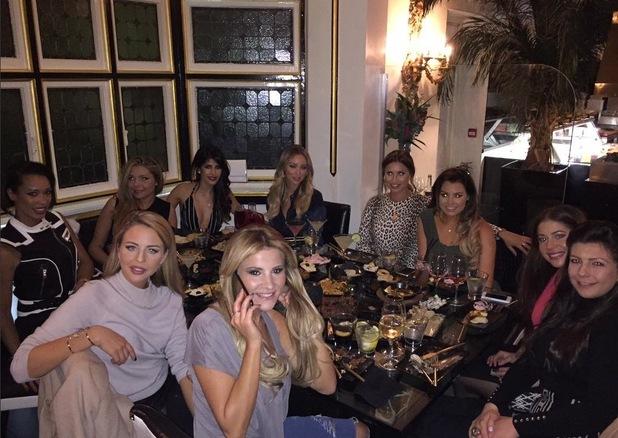 TOWIE girls at Sheesh, taken from Jasmin Walia's Twitter, 18/2/15. Lydia Bright, Lauren Pope, Ferne McCann, Jess Wright, Georgia Kousoulou