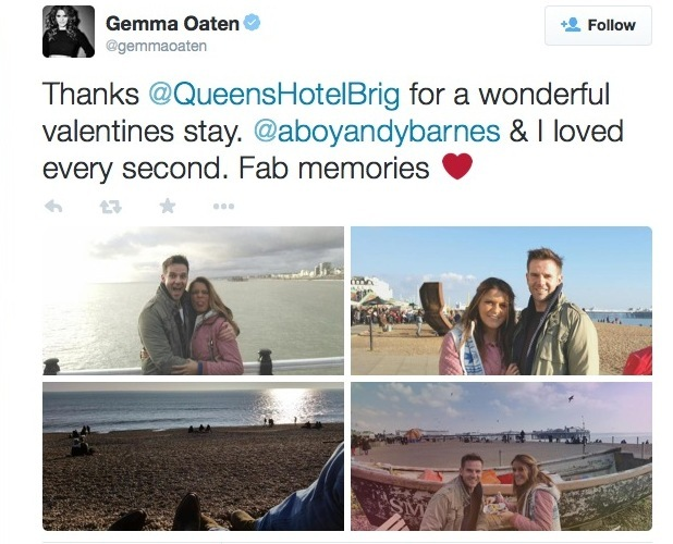 Emmerdale's Gemma Oaten with boyfriend Andy Barnes on Valentine's Day 2015