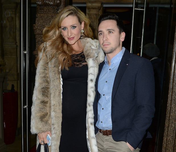 Pregnant Catherine Tyldesley and her fiancé Tom Pitfield arrive at Rosso restaurant to celebrate their anniversary - 01/09/2015.