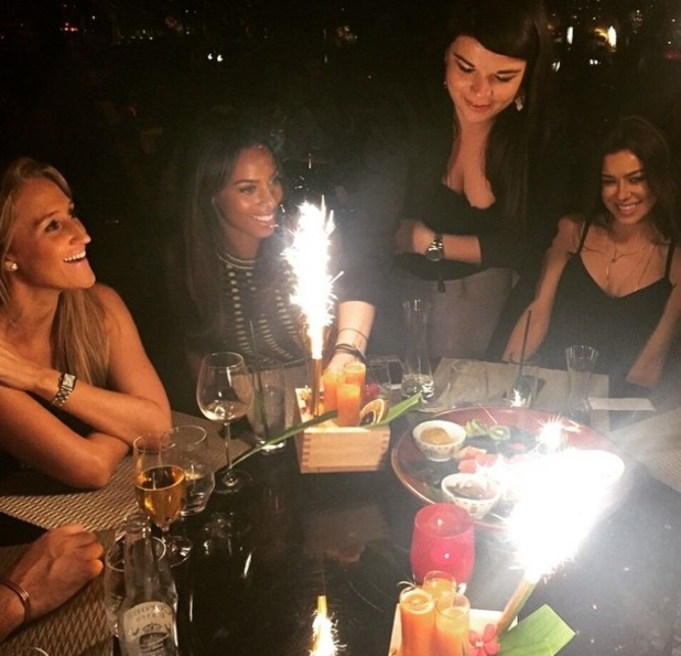 Rochelle Humes enjoys dinner with friends in Dubai, Instagram 19 February