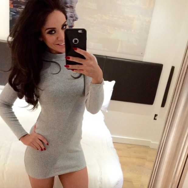 Vicky Pattison poses in grey knitted Lasula Boutique midi dress! 17 February 2015