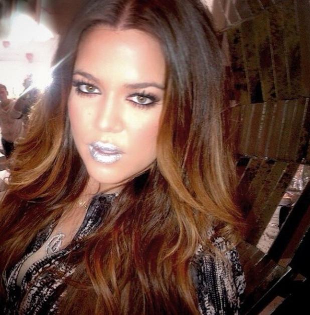 Khloe Kardashian's silver lipstick from Mario Dedivanovic's Instagram, 17/2/15