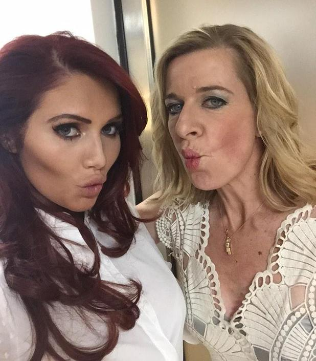 Amy Childs and Katie Hopkins show off their best pouts backstage on ITV2 show Reality Bites - 18 February 2015.