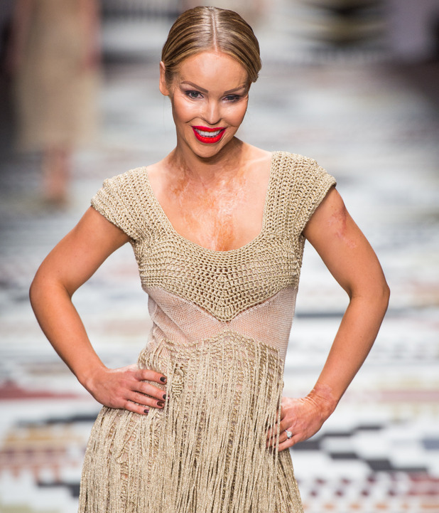 Katie Piper walks the runway at the Fashion For Relief charity fashion show to kick off London Fashion Week Fall/Winter 2015/16 at Somerset House